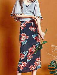 liangsanshi Frauenblumen blau / schwarze Röcke, vintage midi