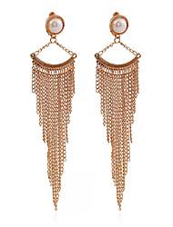 European Style 2016 Design Vintage Fashion Long Earrings 18K Gold Plated Chain Pearl Tassel Earrings For Women Jewelry