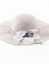 OUFULGA High-grade Flowers Flax Hat Sunscreen Sun Hat Bbeach Cap