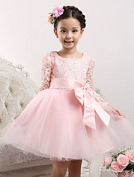 A-line Knee-length Flower Girl Dress - Cotton / Lace / Tulle Long Sleeve Scoop with Bow(s)