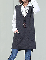 Women's Casual/Daily Street chic Long Vest,Solid Red V Neck Sleeveless Cotton Fall / Winter Medium