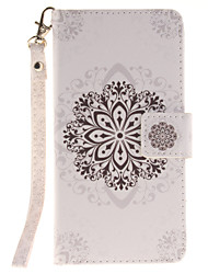 Painted Datura Flowers Pattern Card Can Lanyard PU Phone Case For Huawei P9 Lite P9 P8 Lite