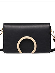 Women PU Casual Semicircle Pure Color Metal Parts Baguette Shopping Shoulder Mobile Phone Bag