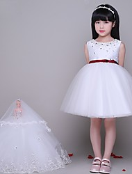 A-line Short / Mini Flower Girl Dress - Tulle Sleeveless Jewel with Beading / Crystal Detailing