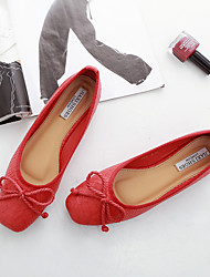Women's Flats Spring / Summer / Fall Flats Suede Casual Flat Heel Bowknot Black / Red / White Others