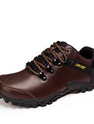Черный / Коричневый-Мужской-Для прогулок / Для занятий спортом-Кожа-На плоской подошве-Удобная обувь / С круглым носком-Кеды