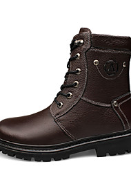 Men's Boots Cowhide Spring Fall Outdoor Casual Lace-up Low Heel Black Brown 1in-1 3/4in