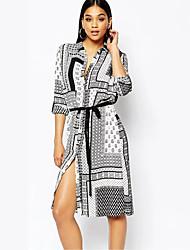 Women's Casual/Daily Simple Sheath DressGeometric Shirt Collar Knee-length