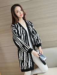 Women's Casual/Daily Simple Long Cardigan,Print Black V Neck Long Sleeve Cotton Spring Medium Inelastic