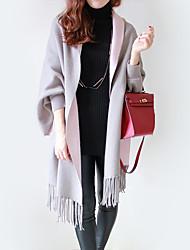 Damen Solide Einfach Lässig/Alltäglich Mantel / Capes,Schal Revers Herbst Langarm Blau / Rot / Schwarz / Grau Baumwolle Undurchsichtig