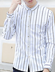 Men's Striped Casual Shirt,Cotton Long Sleeve Blue / White