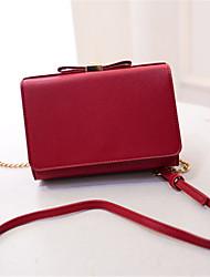 Women PU Casual Bow Pure Color Purse Shopping Shoulder Bag