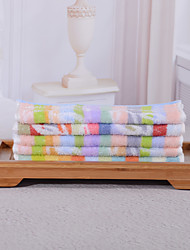 Yukang 5pcs Wash Towel Pack, Multi-Color Rainbow Design 100% Cotton Hand Towel