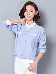 Mulheres Camisa Trabalho Simples Outono,Listrado Azul Algodão / Linho Colarinho Chinês Manga Longa Fina