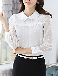Women's Casual/Daily / Going out Simple Fall Blouse,Patchwork Shirt Collar Long Sleeve White Polyester Medium