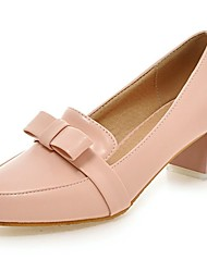 Women's Shoes PU Summer / Pointed Toe Heels Office & Career / Casual Chunky Heel Bowknot Blue / Pink / White