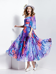 BORME® Femme Col Arrondi Manches 1/2 Maxi Robes-J396