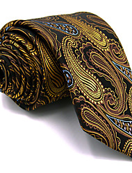 For Men Yellow Paisley 100% Silk Men's Necktie Tie Extra Long Jacquard Woven Business Dress Casual Wedding