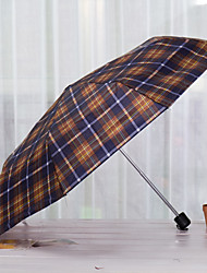 Plaid Short Umbrella Stall Three Folding Portable Folding Umbrella Custom Vinyl Booth
