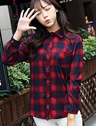 Chemise Aux femmes,Tartan Décontracté / Quotidien simple Automne Manches Longues Col de Chemise Rouge / Gris Coton Moyen