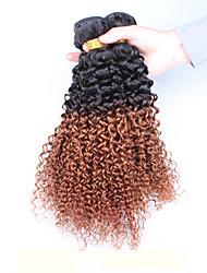 "3Pcs/Lot 10""-26"" Brazilian Virgin Hair Color 1B30 Kinky Curly Human Hair Weaves"