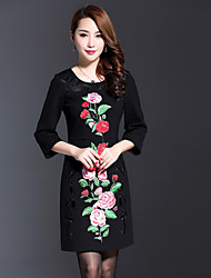 Boutique SWomen's Plus Size / Going out Chinoiserie Sheath Dress,Solid / Embroidered Round Neck Above Knee ¾ Sleeve