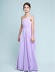Lanting Bride Floor-length Chiffon Junior Bridesmaid Dress Sheath / Column One Shoulder with Beading / Side Draping / Ruching