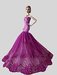 Festa e Noite Vestidos Para Barbie Doll Fúcsia Rendas Vestidos