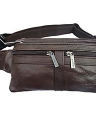 Men Waist Bag Cowhide Casual Black Brown