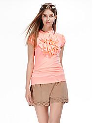 Femme volant Tee-shirt Aux s,Couleur Pleine Sortie simple Eté Manches Courtes Col Ras du Cou Orange Polyester/Spandex Fin