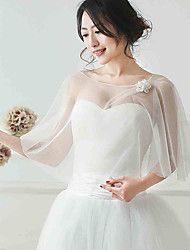 Women's Wrap Shawls Sleeveless Tulle Ivory Wedding / Party/Evening Scoop Flower(s) Pullover