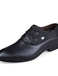 Men's Oxfords Fall Pointed Toe Leather Office & Career Low Heel Others Black / Blue / Brown Walking