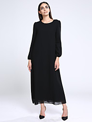 Women's Beach Loose Dress,Solid Round Neck Maxi Long Sleeve Blue / Red / Black / Yellow Fall