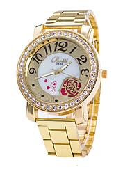 Women's Fashion Watch Wrist watch / Imitation Diamond Quartz Alloy Band Heart shape Flower Casual Gold