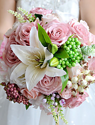 Beautiful Wedding Bouquet Assorted Roses Lily Wedding Accessories Artifical Bride Bouquet
