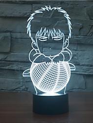 basquete toque escurecimento 3D conduziu a luz da noite 7colorful decoração atmosfera lâmpada de luz de Natal iluminação novidade