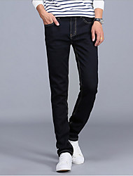 Men's Solid Casual JeansCotton Black / Blue