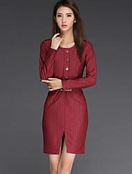 Women's Casual/Daily Simple Sheath Dress,Striped Round Neck Above Knee Long Sleeve Red Cotton Fall