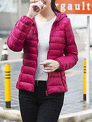 Women's Solid Red Down Coat,Simple Hooded Long Sleeve