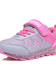 Girl's Sneakers Spring Fall Comfort Light Up Shoes Tulle PU Athletic Flat Heel Lace-up Magic Tape LED Pink