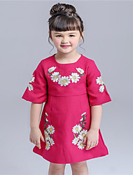 KIMOCAT Girl's Casual/Daily Floral Dress,Cotton Spring / Fall Red