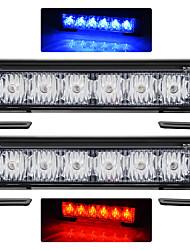 exled 2pcs 12 2 x 18w Auto Blitzwarnleuchte rot + blau Wechsel weiß wasserdicht Notlicht führte, DC 12V