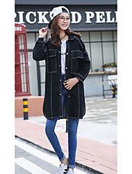 Women's Going out /Cute Summer Denim Jackets,Solid Shirt Collar Long Sleeve Black Cotton Medium