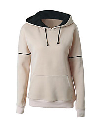 Women's Casual/Daily Street chic Regular Hoodies,Solid Multi-color Hooded Long Sleeve Cotton Spring / Fall Medium