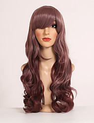 Hot Selling Purple Color Long European Wave Women Synthetic Wigs