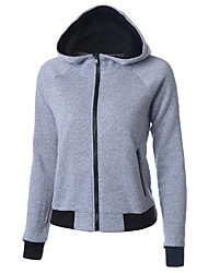 Women's Casual/Daily Street chic Regular Hoodies,Solid / Patchwork Gray Hooded Long Sleeve Cotton Spring / Fall Medium