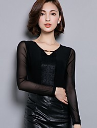 Women's Casual/Daily Sexy Fall / Winter Blouse,Patchwork V Neck Long Sleeve Black Cotton / Polyester Medium