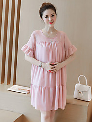 Maternity Casual/Daily Cute Loose Dress,Solid Round Neck Knee-length ½ Length Sleeve Blue / Pink / Black Silk Summer