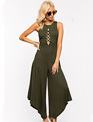 Women's Solid Cut Out Backless  Irregular Wide Leg Jumpsuits,Simple Round Neck Sleeveless