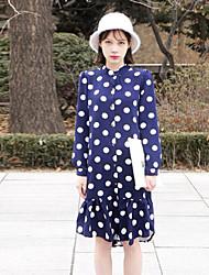 De las mujeres Corte Ancho Vestido Noche Vintage,A Lunares Escote Chino Sobre la rodilla Manga Larga Azul / Blanco Poliéster Otoño